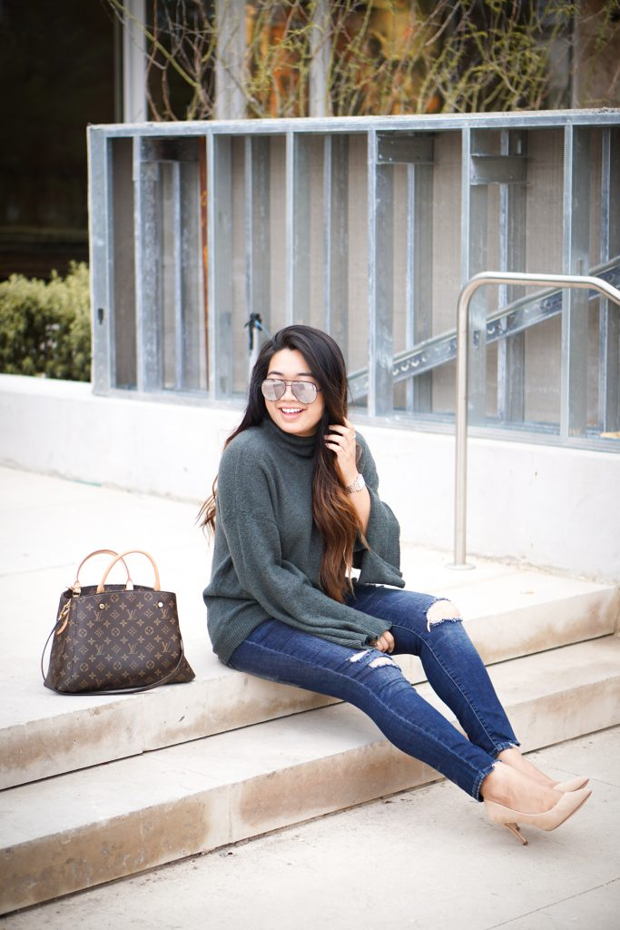 Forest Green Sweater + The Most Comfortable Heels Ever